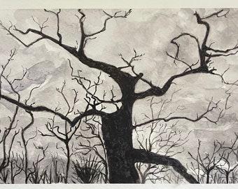 Original watercolor tree silhouette