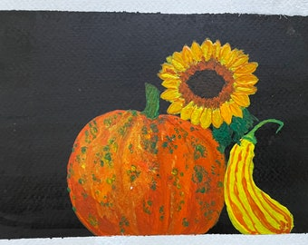 Cute and moody ( spooky?!) original 5 x 7 watercolor featuring a pumpkin, sunflower and gourd, in shades of yellow, gold and orange