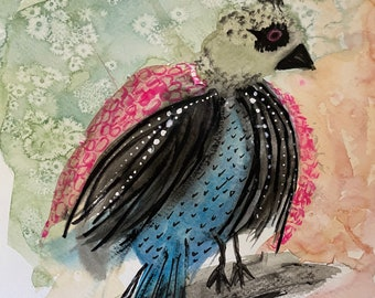 Exotic fantasy bird watercolor, whimsical 9 x 12 original  painting of a bird that exists only in my weird brain.