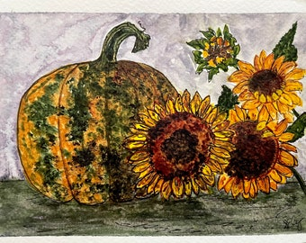 Fall has arrived, pumpkin and sunflowers, original watercolor 5 x 7, fall colors wall decor