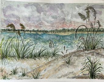 Sand Dunes at the Beach original watercolor