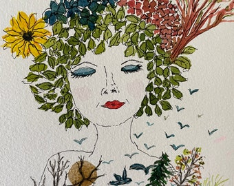 Flower Child original 5 x 7 watercolor