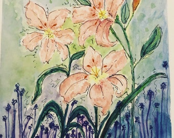 Pink lilies watercolor painting