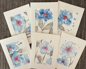 """Set of six blank cards w/envelopes, 3-1/2"""" x 4-7/8"""" original, blue abstract floral"""