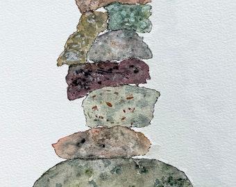 Zen rock stack original watercolor