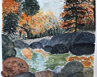 Fall watercolor landscape painting