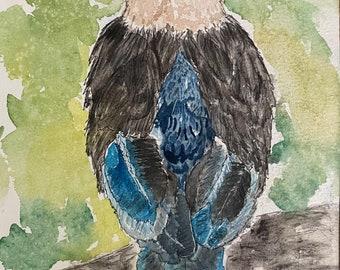Exotic bird original watercolor