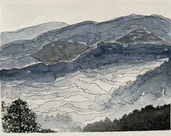 Blue Ridge Mountains on a foggy morning, original, unframed 6 x 8 watercolor and ink in shades of blue and charcoal.