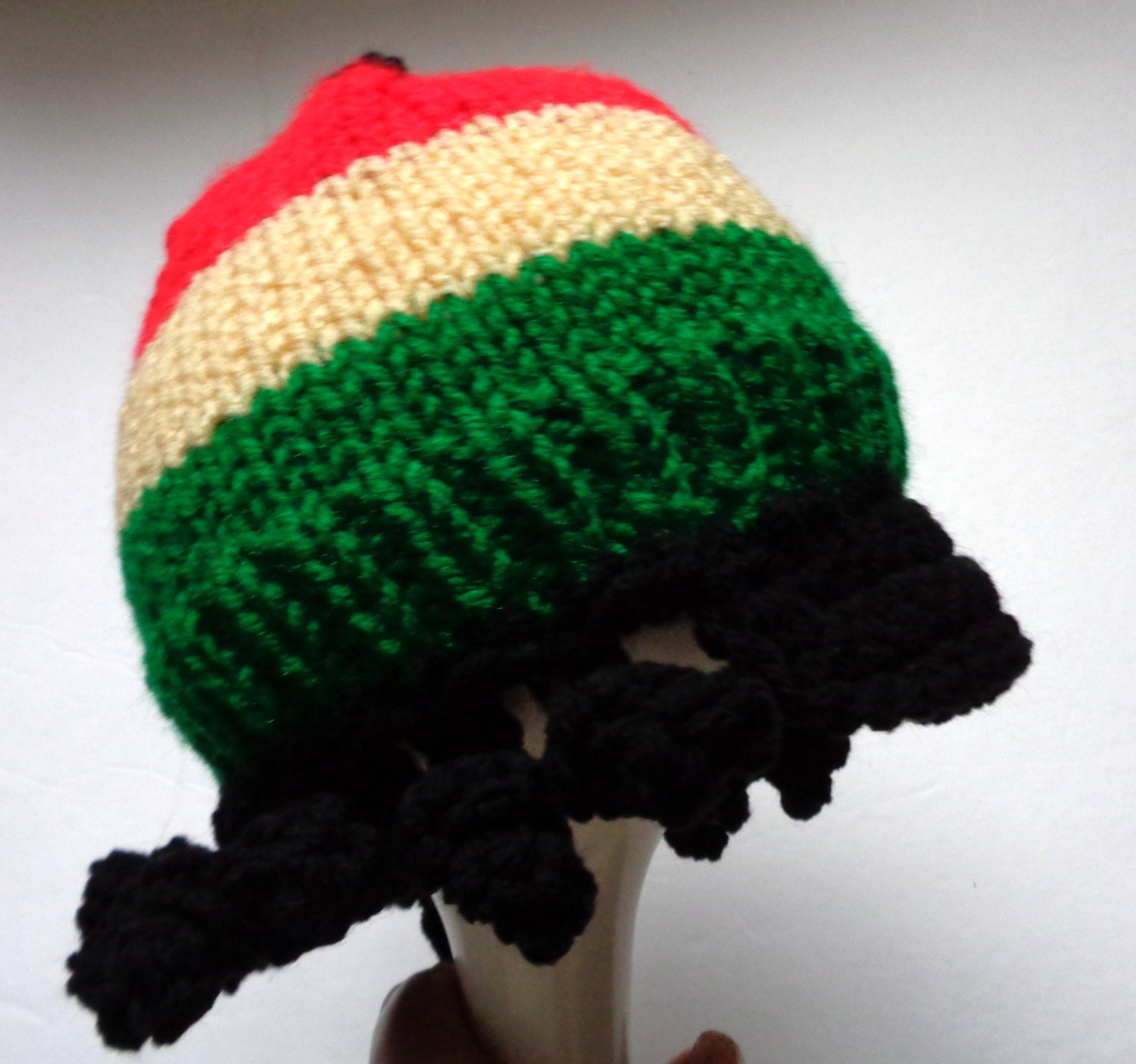 Jamaican Style Hat Baby Rastafarian Cap Hand Knit Hat with  98019b6fb01