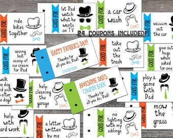 coupon book for dad love coupons fathers day gift from kids printable coupon book gift for dad pdf diy dads birthday stocking stuffer
