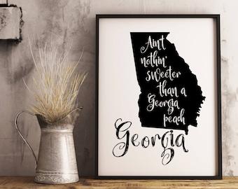 Georgia state print, Georgia Peach, Georgia map printable, Georgia poster, Georgia sign, Georgia wall art, Farmhouse decor, Instant Download