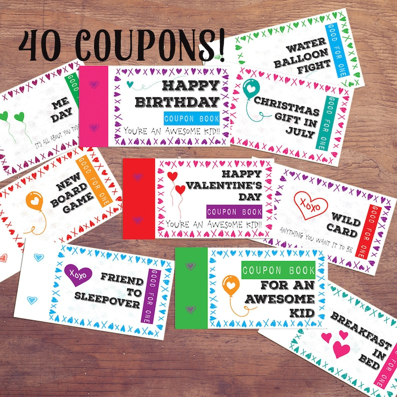 graphic regarding Printable Birthday Coupons titled youngsters coupon reserve present for children printable birthday coupon codes immediate down load Do-it-yourself behaviors Advantage for small children Stocking Stuffer Easter basket