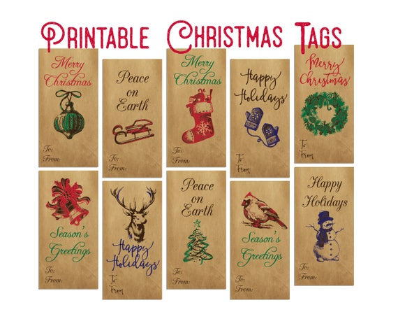 Christmas Gift Tags Diy.Vintage Christmas Gift Tags Holiday Gift Tags Christmas Tags Printable Instant Download Diy Tags Pdf Christmas Labels Holiday Labels