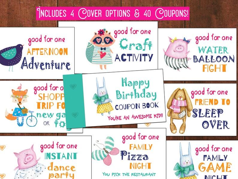 8f7af4f8cd15 Coupon Book for girls printabl instant download DIY Reward for