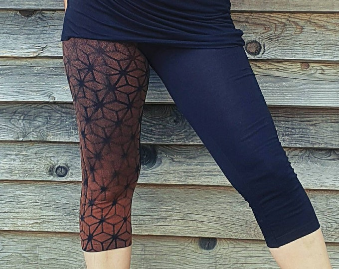 Featured listing image: Woman's legging with sacred geometry on leg, cubes patterns bleached with stencils. Mystical symbols for witches and trance festival souls