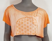 Crop top with flower of life pattern bleached in front, loose cut sexy bare shoulder look. Mystical sacred geometry symbol, psy trance party