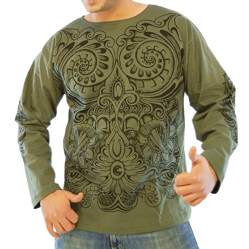 116c30ade Tribal print shirt men's long sleeves shirt Maoris | Etsy