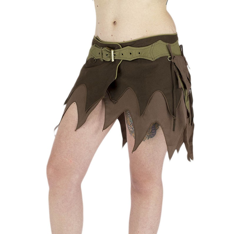 psy clothes festival trance goa wear cyber elf costum beige and brown tapered fairy skirt asym\u00e9trical tips skirt Pixie mini skirt