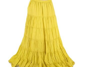 Very long gypsy yellow skirt, with large wheels, bohemian, tribal, festival, pixie long skirt, boho, trance, burlesque, danse long skirt