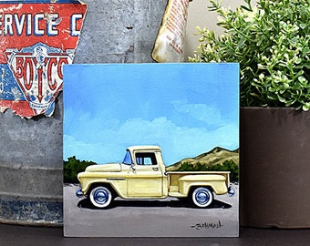 Yellow 55 Chevy, Original Oil Painting, 6x6