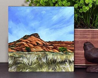 Snow Canyon Landscape, Original Oil Painting, 6x6