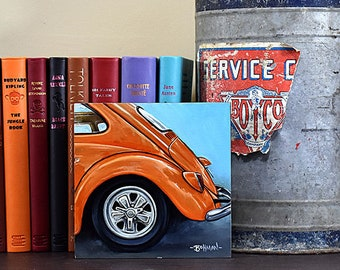 Orange VW Beetle, Original Oil Painting, 6x6, Scratch and Dent