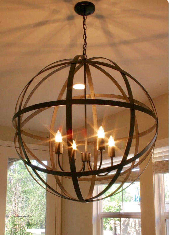 Rustic bronze metal Orb chandelier | Etsy