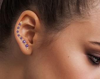 Ear Climbers, Ear Crawler Earrings, Ear Climber Earrings, Ear Sweeps in Swarovski Crystal, Gemstones or Pearls #268 – Customize Now!