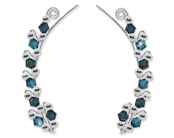 Ear Climbers, Ear Crawler Earrings, Ear Climber Earrings, Ear Sweeps in Swarovski Crystal, Gemstones or Pearls #264 – Customize Now!
