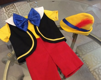 Shirt with a bow etsy pinocchio costume 5 pieces shirt short vest bow and hat sizes 6 months to 5t maxwellsz
