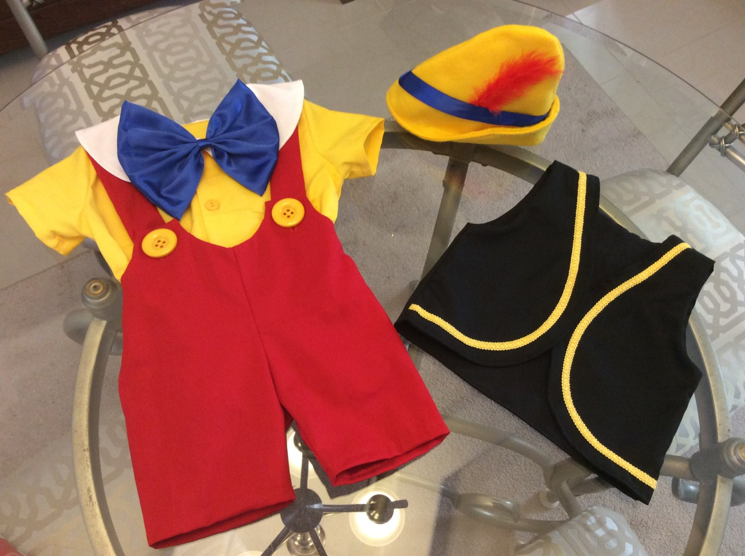 Pinocchio Costume 5 Pieces Shirt Short Vest Bow And Hat Etsy