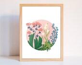 Poster, printable A4 poster, floral illustration, nature, printable, flower to print, flower study, flower print