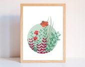 Printable wall art,  printable art, Printable poster, Illustration children bedroom, illustration botanical, spring, Poster