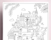 Printable coloring A4, printable, adult coloring, illustration to print and color, instant download