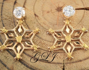 Sale. Vintage 14k Yellow Gold, YG, Carved Snowflake Earring Jackets measuring 1 inch by 1 inch