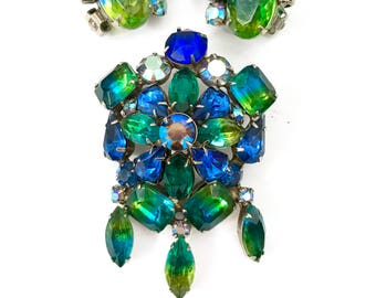 Kramer Blue & Green Givre Rhinestone Demi, Brooch and Earring Set, Floral Brooch Dangles, Clip - on Earrings, Vintage Gift for Her, Signed