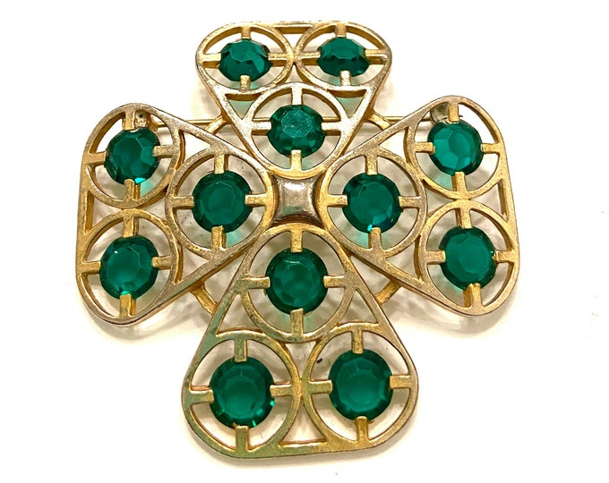 Green /& GoldMaltese Cross Brooch Modernist Style Gold Tone Metal Green Faceted Acrylic Stones Open Metal Work Geometric Design Gift for Her