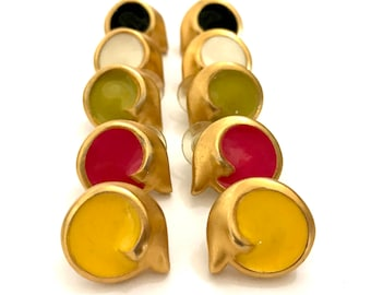 Clara Studio for Asymmetry Round Earrings, Yellow Red Green White or Black Enamel, Matte Gold Tone, Pierced, Signed, Vintage Gift for Her