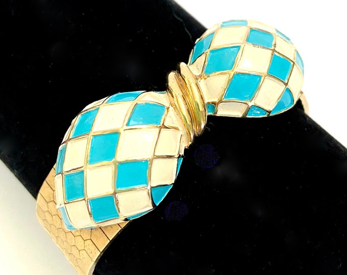 Size Gift for HTF Marcel Boucher Enamel Bow Bracelet Adorable Turquoise and Cream Dimensional Enamel Bow Silky Gold Plated Band Adj
