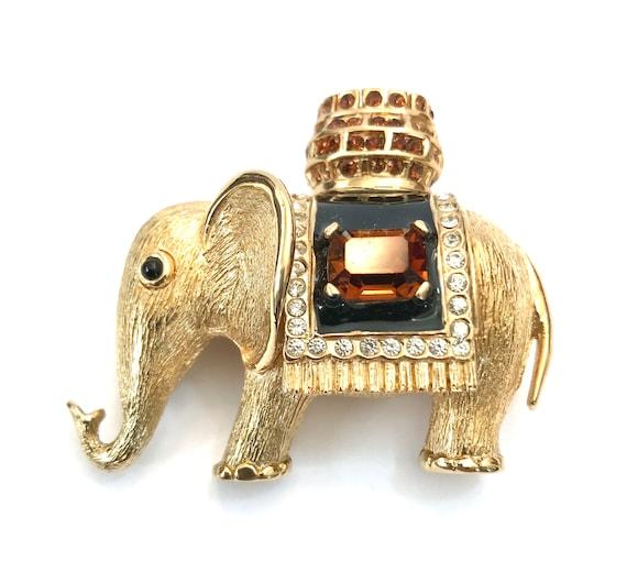 Signed  Ciner Elephant Brooch Gold Plated Metal Bl