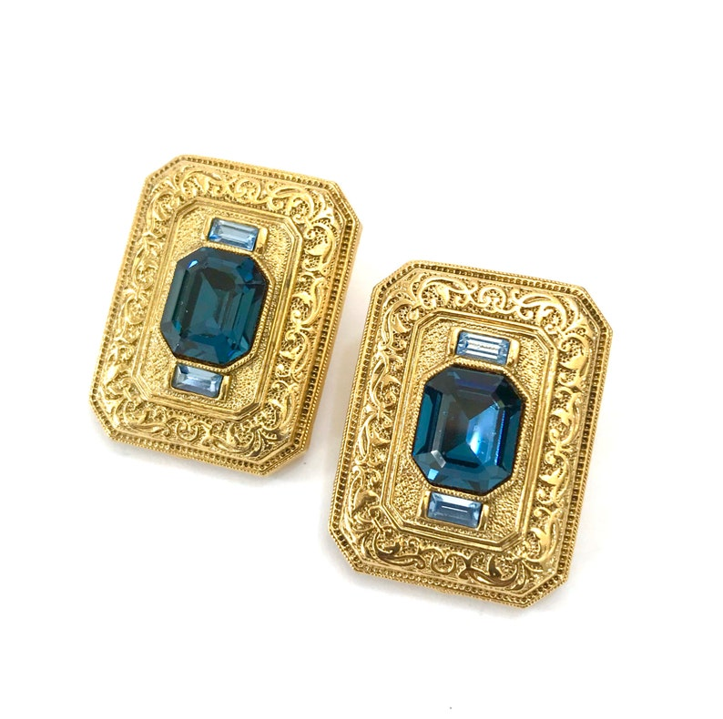 Vintage Blue and Gold Statement Earrings Sapphire Blue /&  Swiss Blue Baguette Crystals Ornately Embossed Gold Tone Rectangles Gift for Her