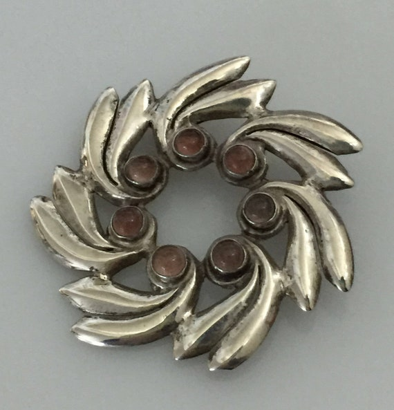 Mexican Silver Amethyst Brooch, Pinwheel Design, E