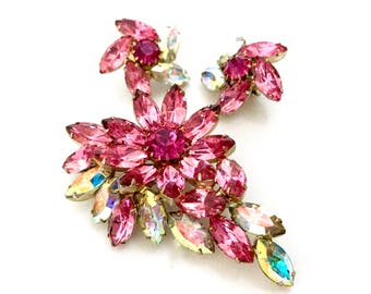 Pink Rhinestone Floral Demi Parure, Brooch & Earring Set, Pink Marquis and Chatons, Aurora Borealis Marquis, Gold Tone, Vintage Gift for Her