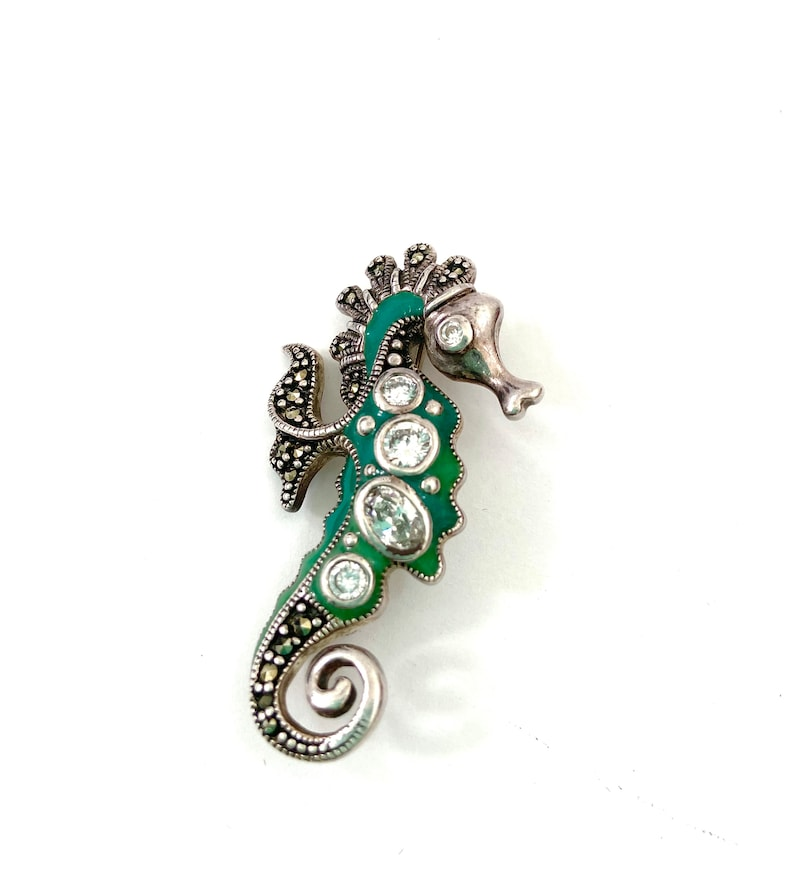 Sterling Silver Enamel /& Rhinestone Seahorse Brooch Marcasite Large Clear Crystals Deep Green Enamel Figural Gift for Her