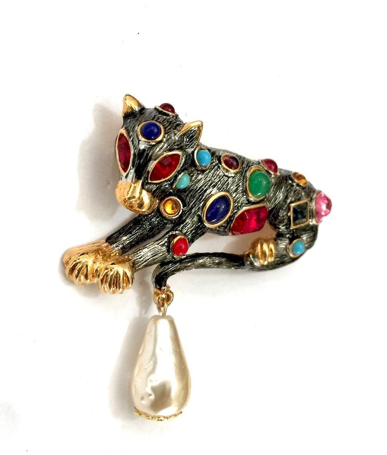 e2922b29f48a Rare Kenneth Lane Bejeweled Leopard Brooch Glass Jewel