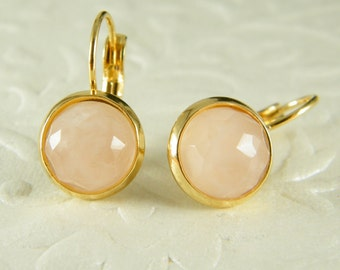 Pink gold earrings, Rose quartz gold earrings, Dangle earrings, love stone earrings, gold filled earrings, Pink gold jewelry, Gift for her