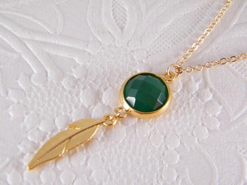 e5eebae38707a1 Emerald Gold naszyjnik wisiorek kamień zielony klejnot złoty | Etsy