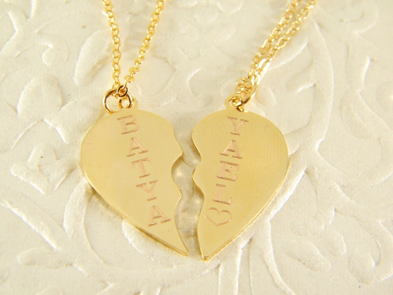 95dde5e5525b Broken heart necklace 2 heart necklaces Gold heart