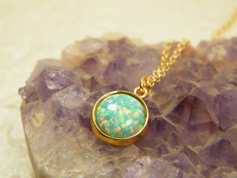 Gift for women Turquoise opal necklace Opal pendant Blue gold necklace Gem stone necklace Opal jewelry 14 k gold filled necklace