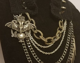 Winged Skull Collar Necklace